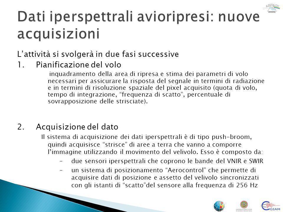 Dati iperspettrali avioripresi: nuove acquisizioni