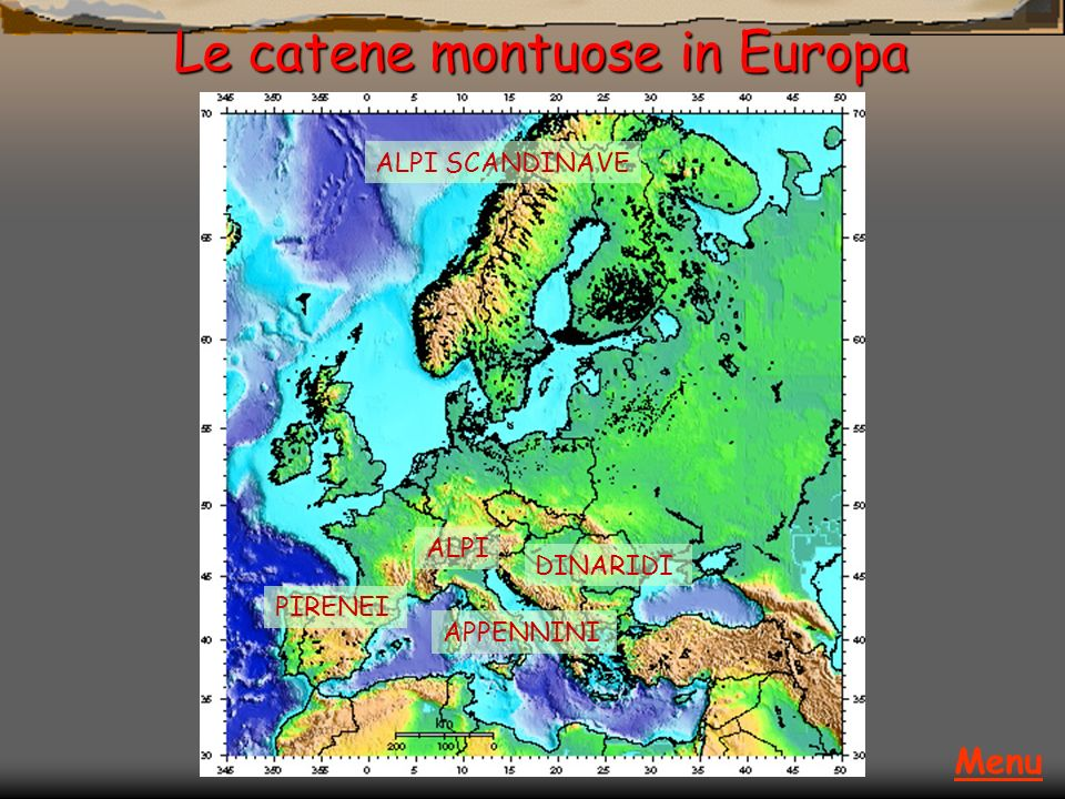 Le catene montuose in Europa