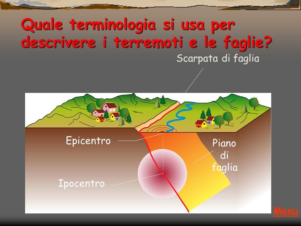 Quale terminologia si usa per descrivere i terremoti e le faglie