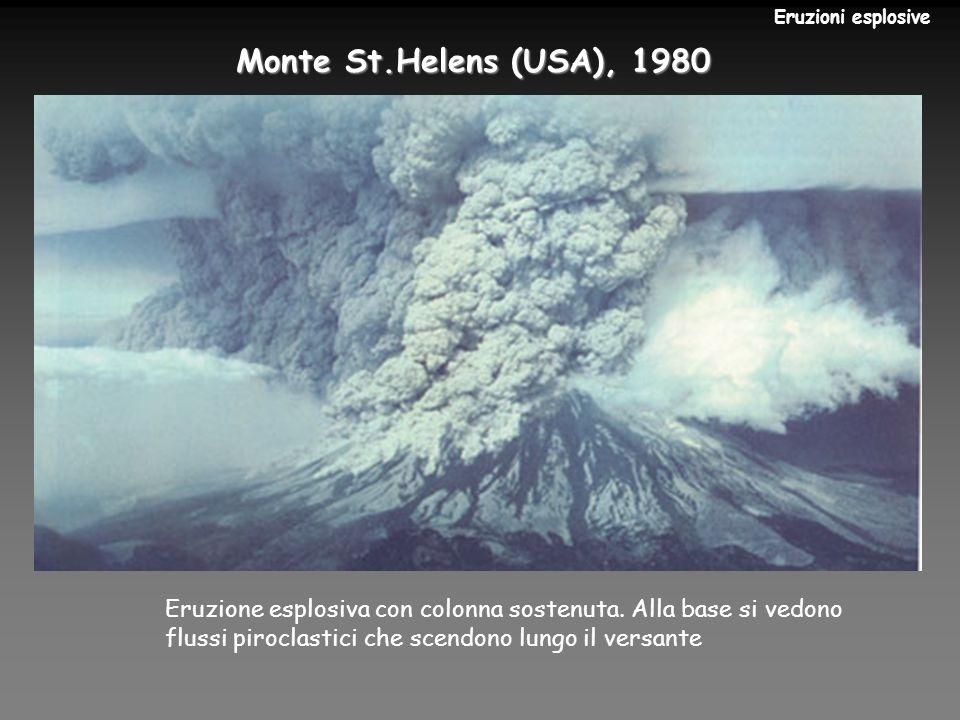 Eruzioni esplosive Monte St.Helens (USA), 1980. Eruzione esplosiva con colonna sostenuta. Alla base si vedono.