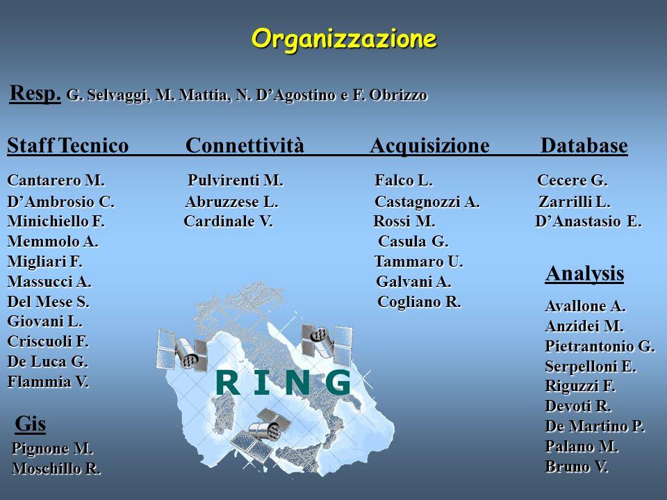 Organizzazione Resp. G. Selvaggi, M. Mattia, N. D'Agostino e F. Obrizzo.