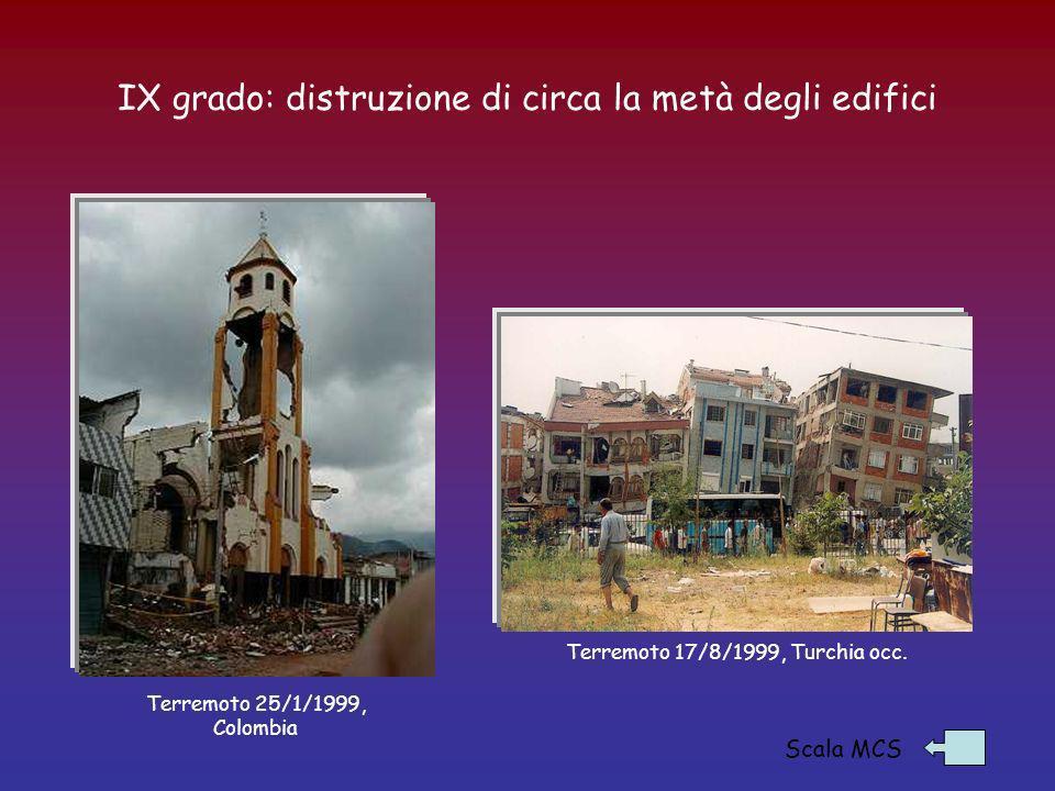 IX grado: distruzione di circa la metà degli edifici