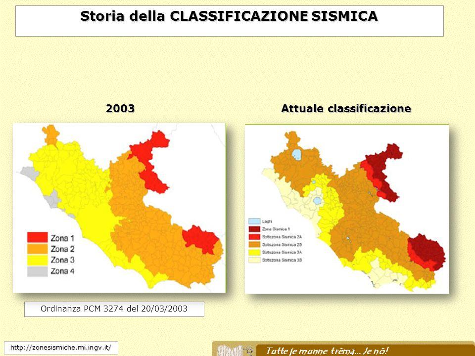 Storia della CLASSIFICAZIONE SISMICA