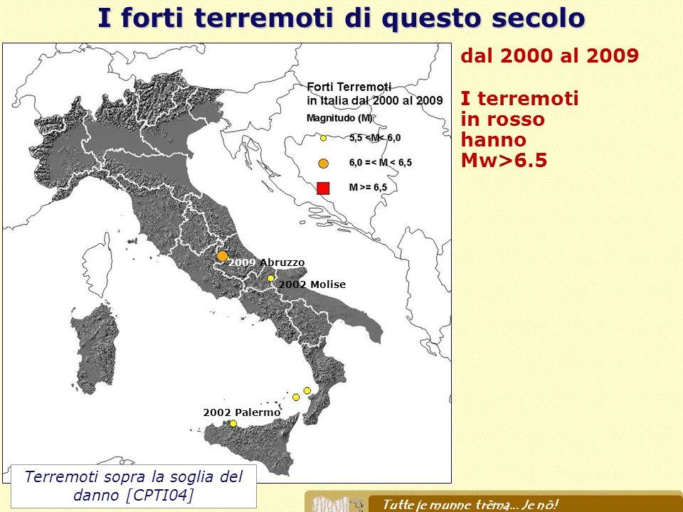 I forti terremoti di questo secolo