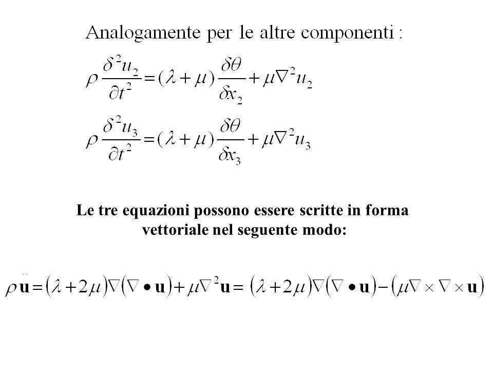 Le tre equazioni possono essere scritte in forma
