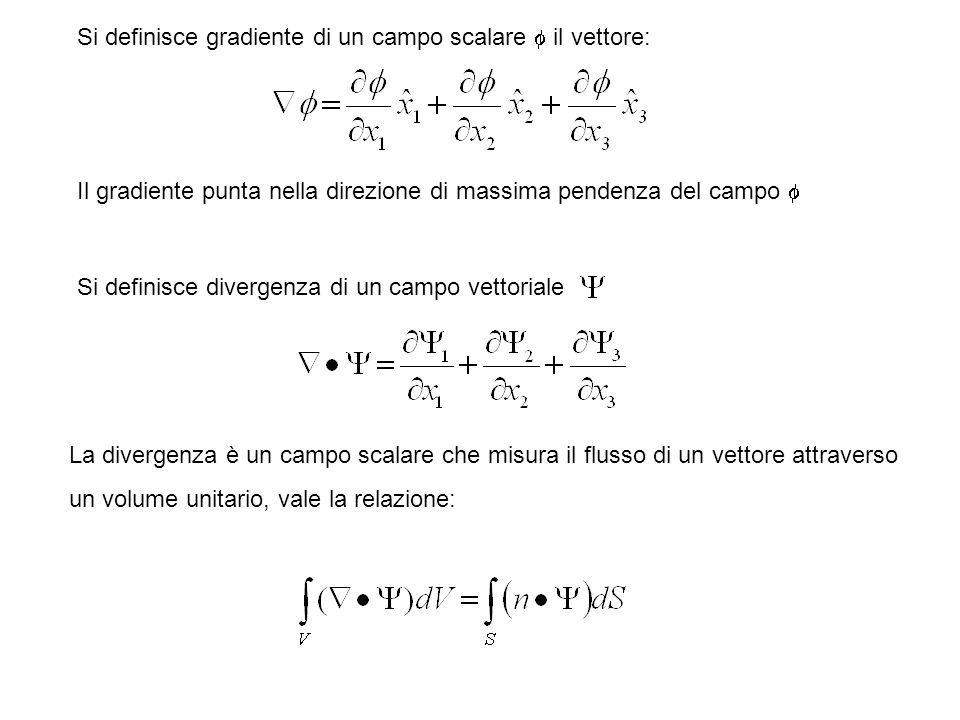 Si definisce gradiente di un campo scalare f il vettore: