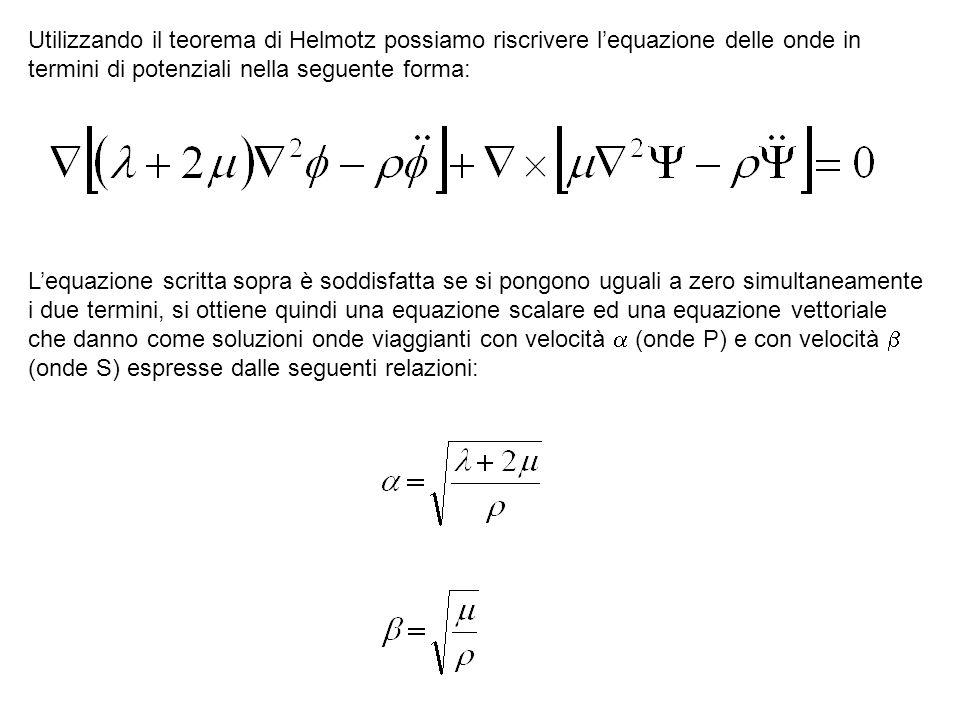 Utilizzando il teorema di Helmotz possiamo riscrivere l'equazione delle onde in termini di potenziali nella seguente forma: