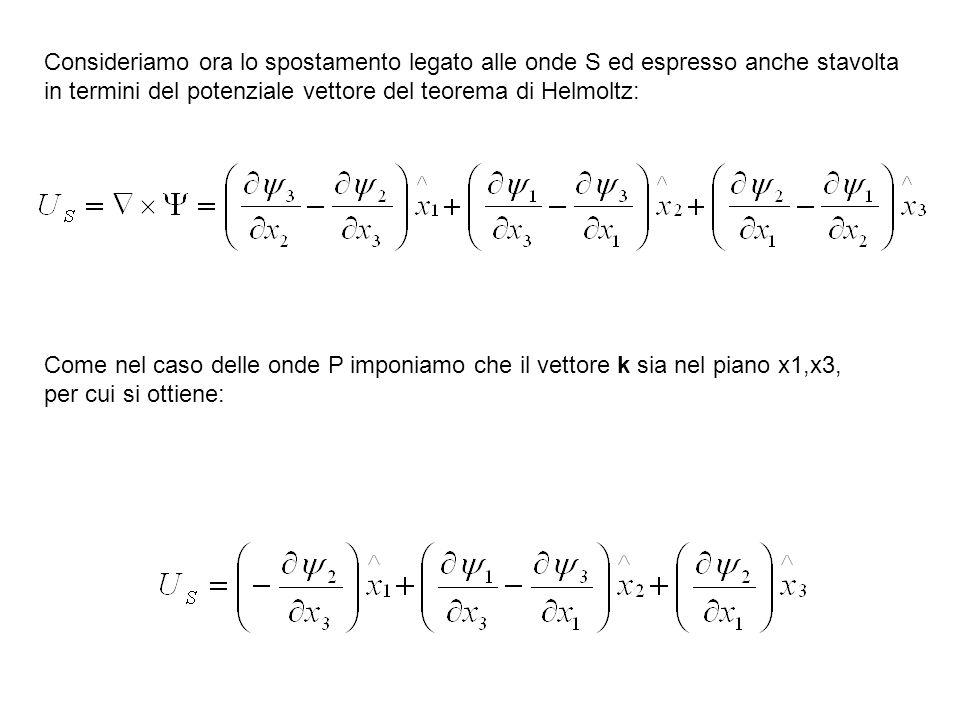 Consideriamo ora lo spostamento legato alle onde S ed espresso anche stavolta