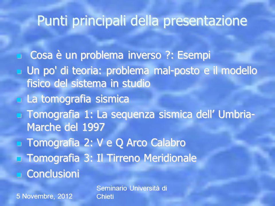 Punti principali della presentazione