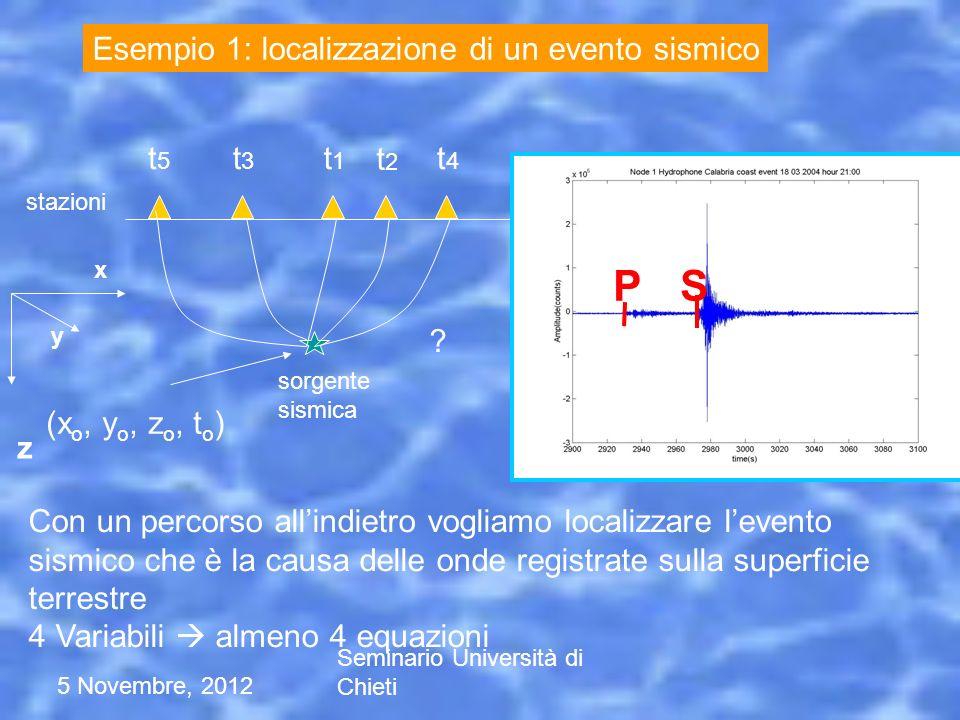 P S Esempio 1: localizzazione di un evento sismico (xo, yo, zo, to) t5