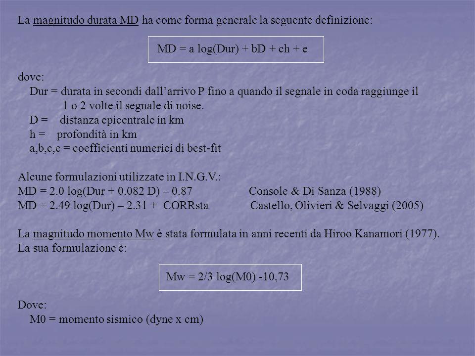 La magnitudo durata MD ha come forma generale la seguente definizione: