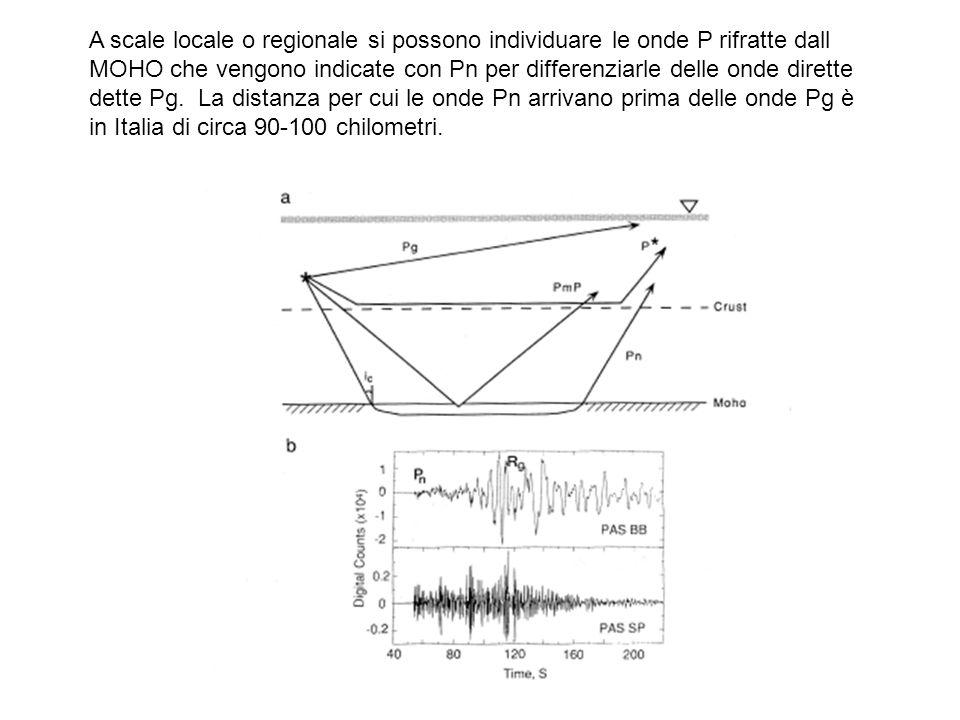 A scale locale o regionale si possono individuare le onde P rifratte dall MOHO che vengono indicate con Pn per differenziarle delle onde dirette dette Pg.