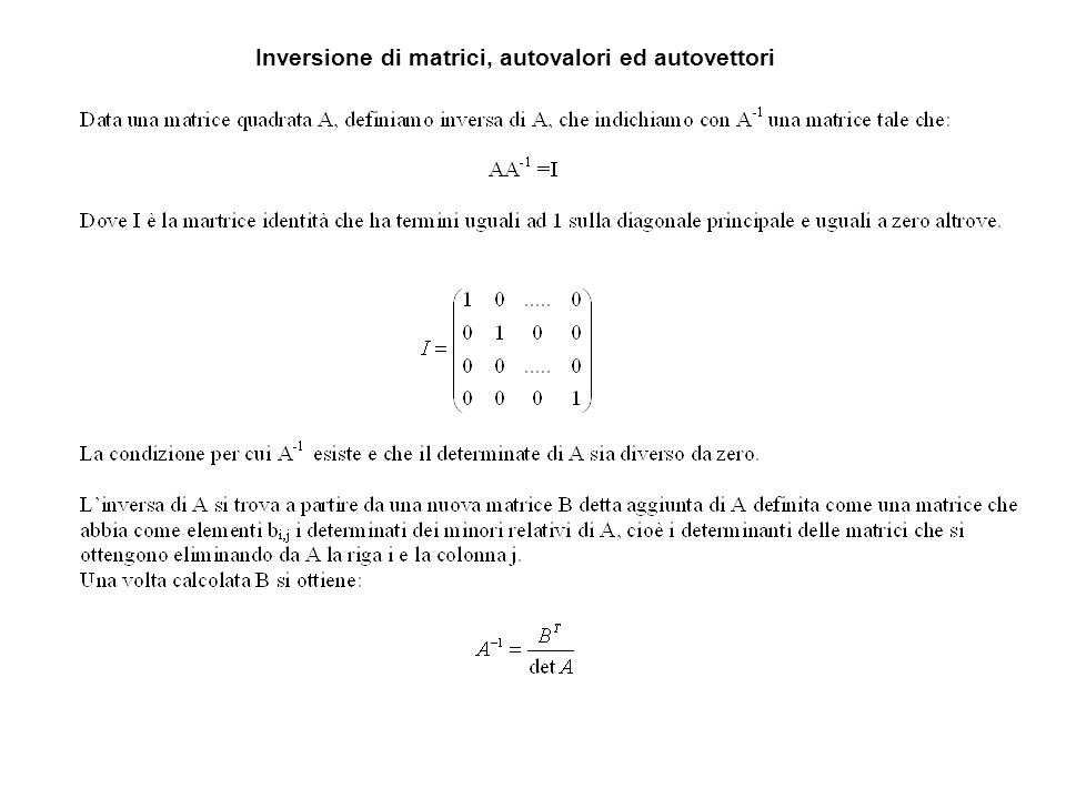 Inversione di matrici, autovalori ed autovettori