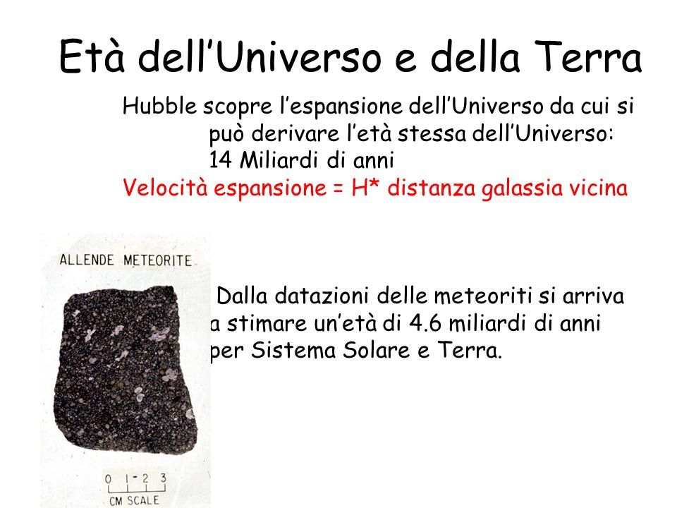 Età dell'Universo e della Terra