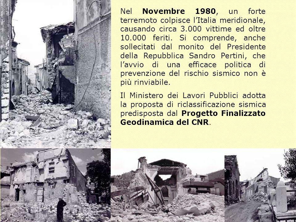 Nel Novembre 1980, un forte terremoto colpisce l'Italia meridionale, causando circa 3.000 vittime ed oltre 10.000 feriti. Si comprende, anche sollecitati dal monito del Presidente della Repubblica Sandro Pertini, che l'avvio di una efficace politica di prevenzione del rischio sismico non è più rinviabile.