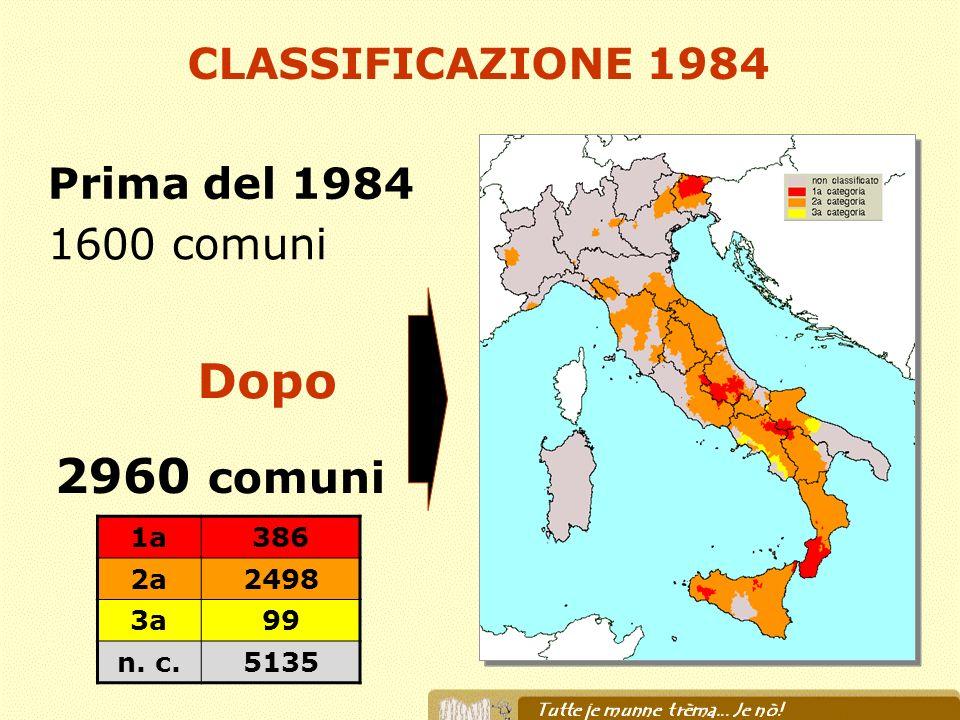 Dopo 2960 comuni CLASSIFICAZIONE 1984 Prima del 1984 1600 comuni 1a
