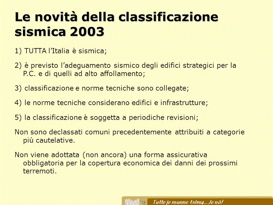 Le novità della classificazione sismica 2003