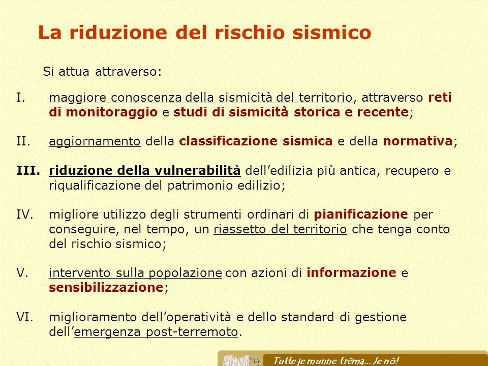 La riduzione del rischio sismico