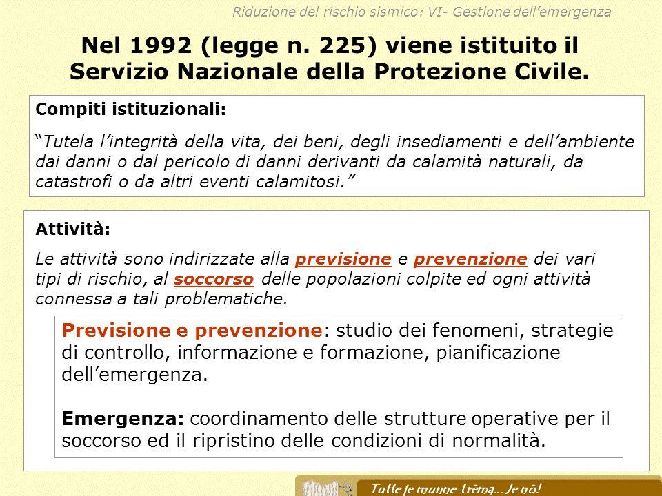 Nel 1992 (legge n. 225) viene istituito il