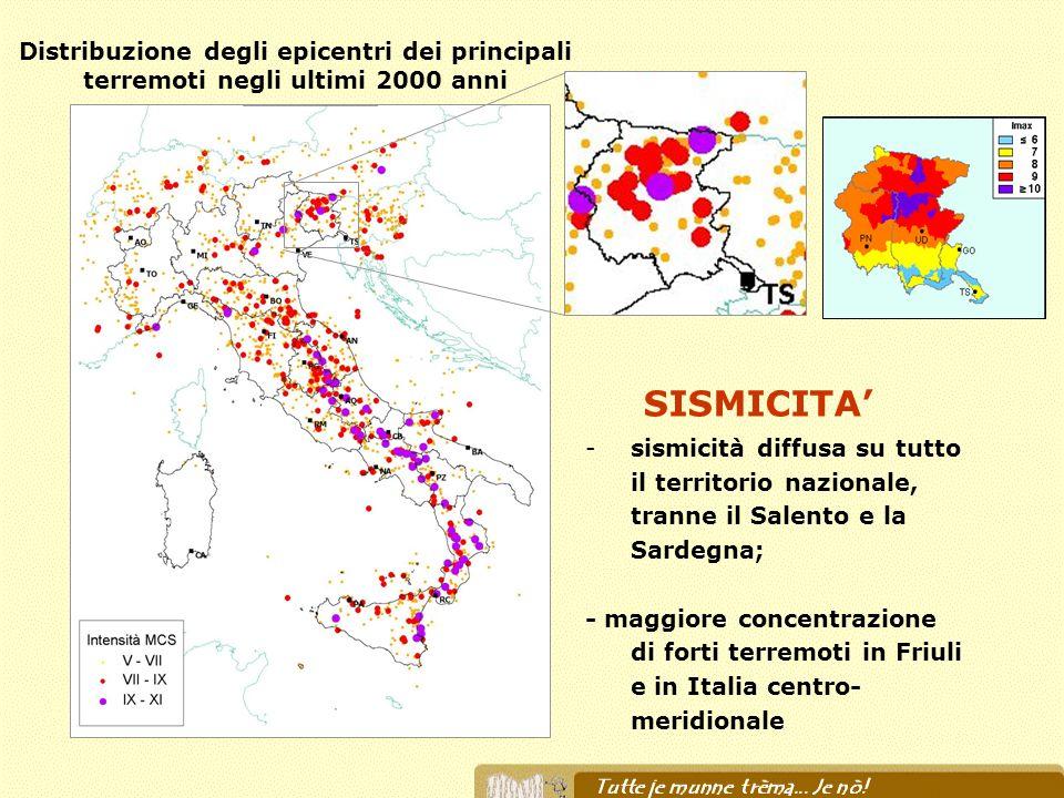 Distribuzione degli epicentri dei principali terremoti negli ultimi 2000 anni