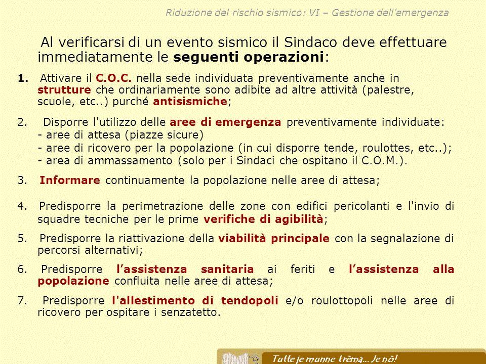 Riduzione del rischio sismico: VI – Gestione dell'emergenza