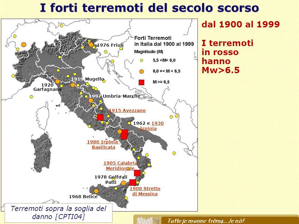 I forti terremoti del secolo scorso