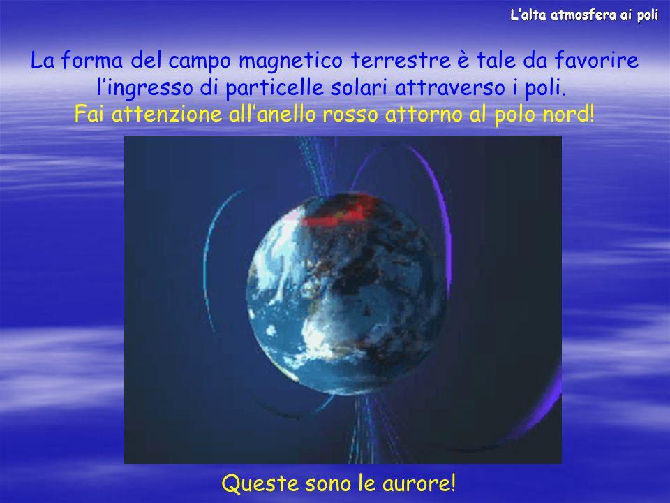 La forma del campo magnetico terrestre è tale da favorire