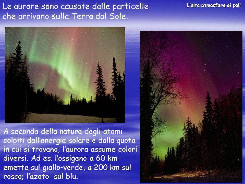 Le aurore sono causate dalle particelle che arrivano sulla Terra dal Sole.