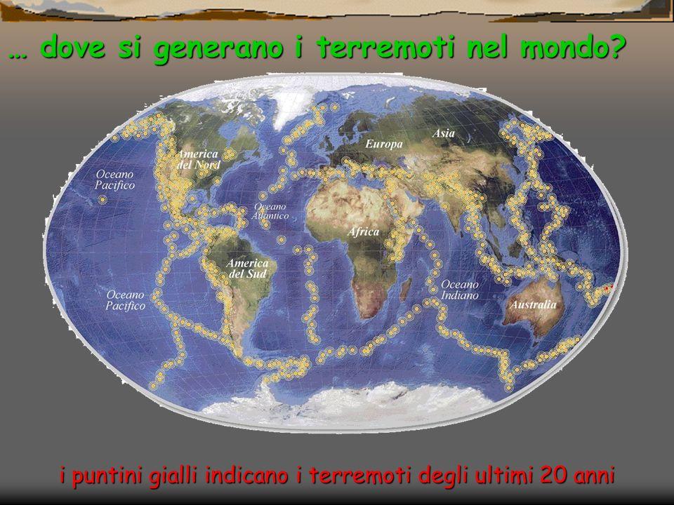 i puntini gialli indicano i terremoti degli ultimi 20 anni