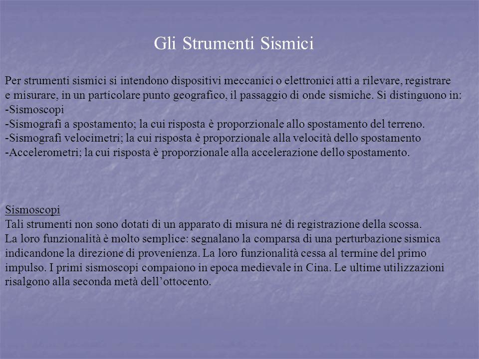 Gli Strumenti Sismici Per strumenti sismici si intendono dispositivi meccanici o elettronici atti a rilevare, registrare.
