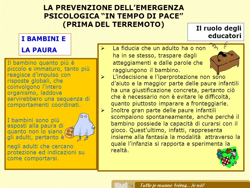 LA PREVENZIONE DELL'EMERGENZA PSICOLOGICA IN TEMPO DI PACE