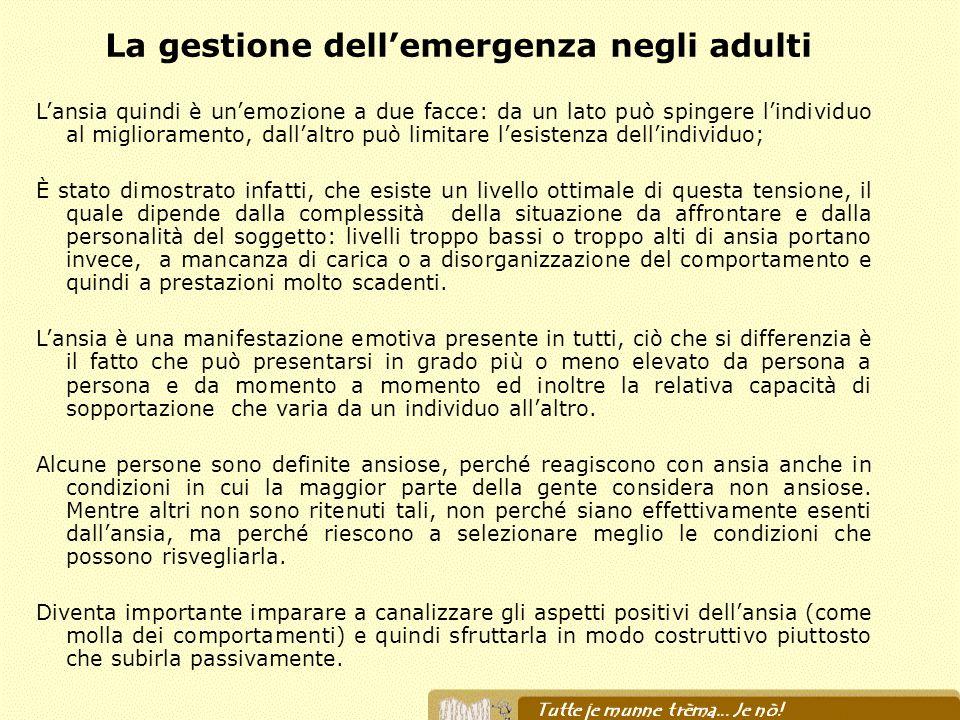 La gestione dell'emergenza negli adulti