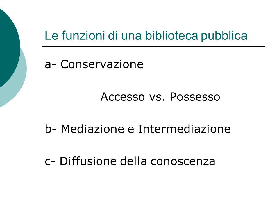 Le funzioni di una biblioteca pubblica