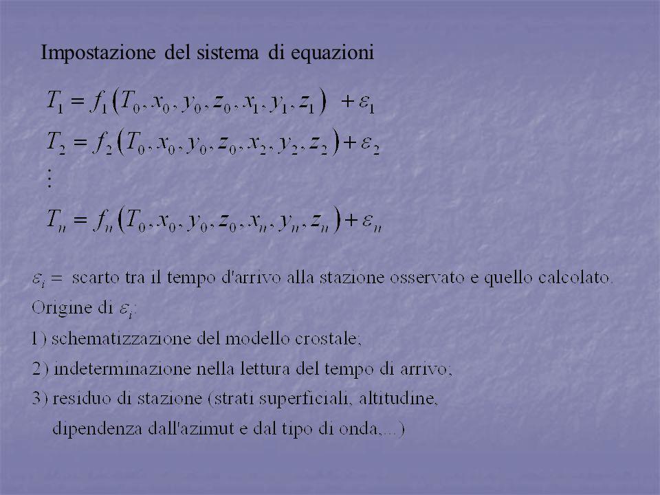 Impostazione del sistema di equazioni