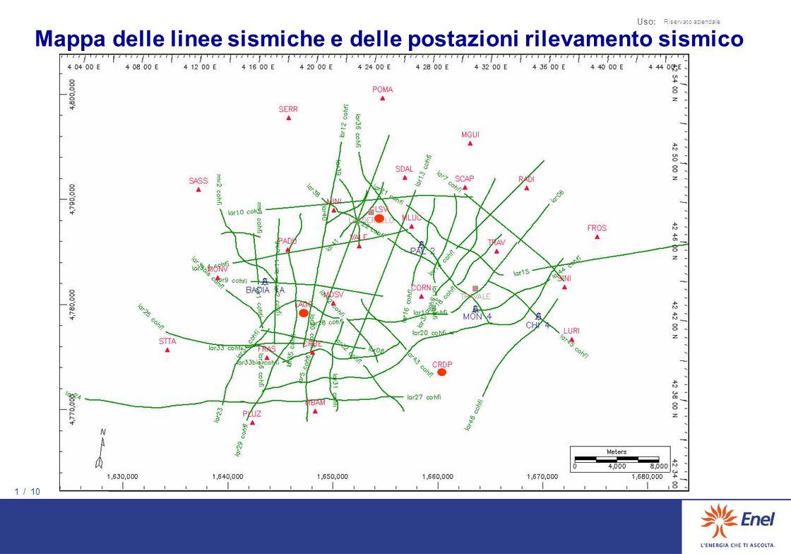 Mappa delle linee sismiche e delle postazioni rilevamento sismico