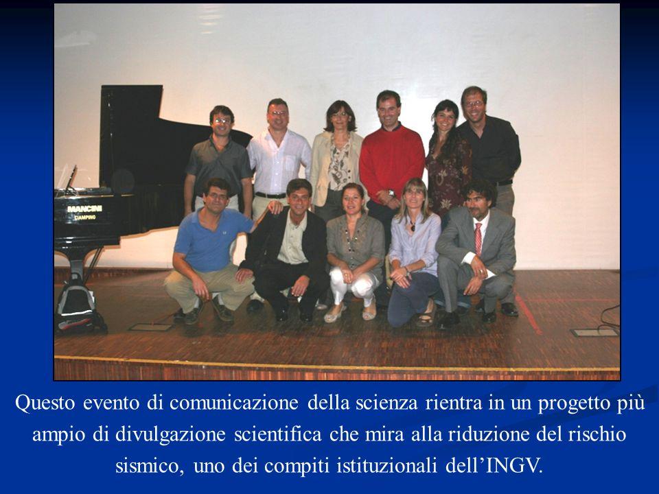 Questo evento di comunicazione della scienza rientra in un progetto più ampio di divulgazione scientifica che mira alla riduzione del rischio sismico, uno dei compiti istituzionali dell'INGV.