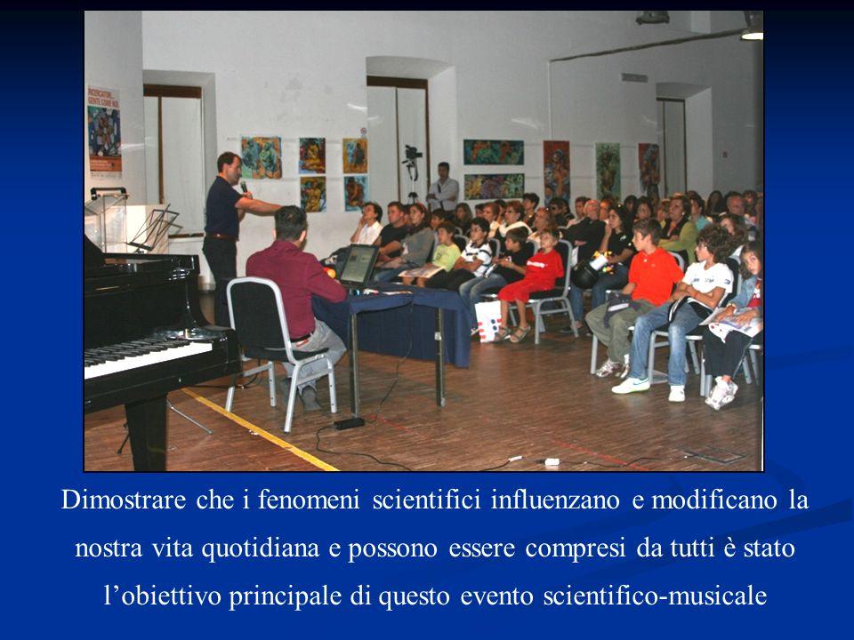 Dimostrare che i fenomeni scientifici influenzano e modificano la nostra vita quotidiana e possono essere compresi da tutti è stato l'obiettivo principale di questo evento scientifico-musicale