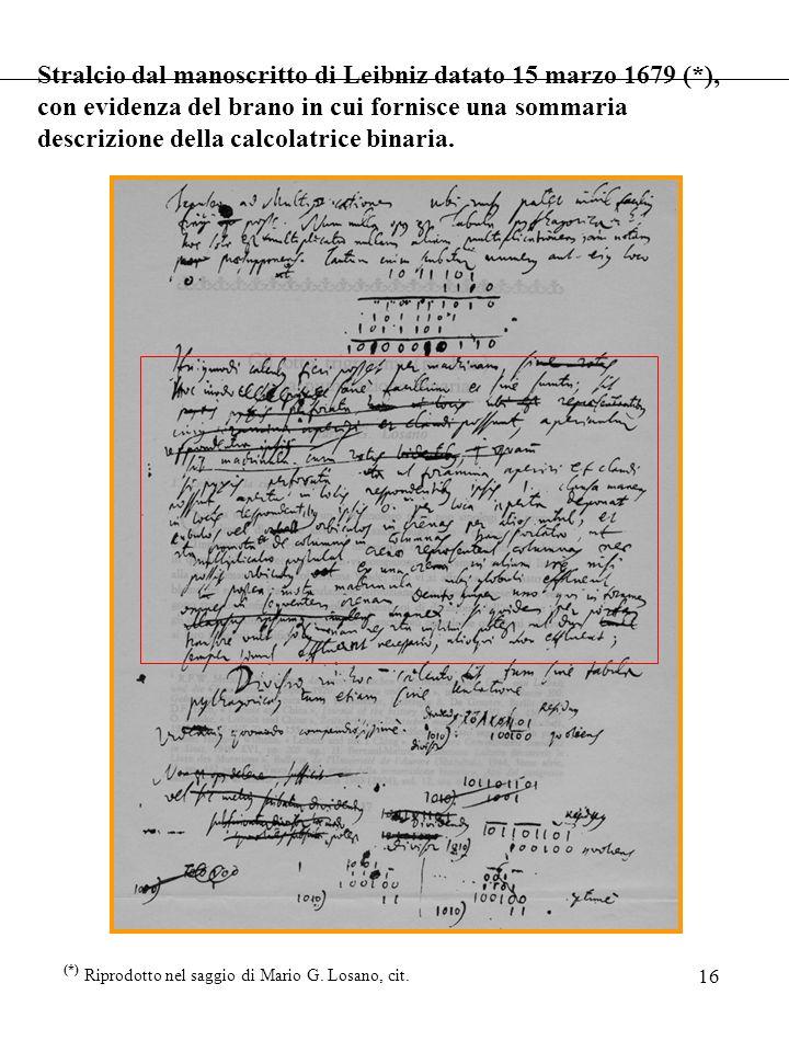 Stralcio dal manoscritto di Leibniz datato 15 marzo 1679 (