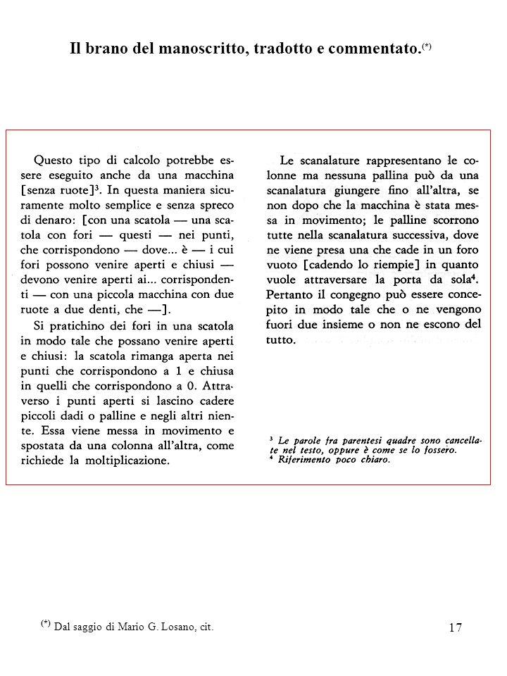 Il brano del manoscritto, tradotto e commentato.(*)