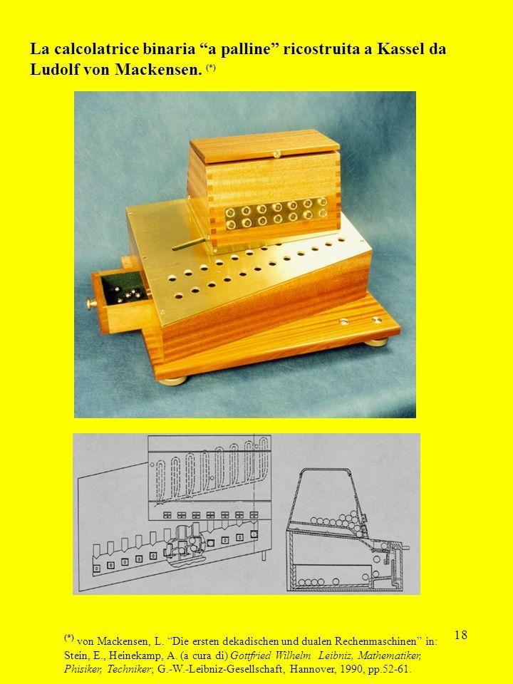 La calcolatrice binaria a palline ricostruita a Kassel da Ludolf von Mackensen. (*)
