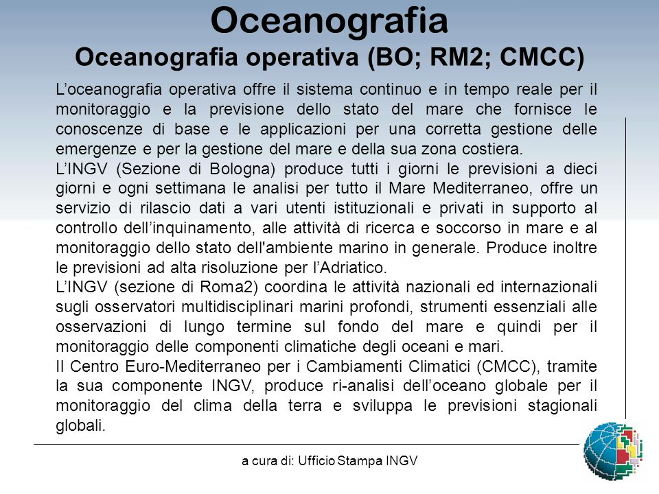 Oceanografia operativa (BO; RM2; CMCC)