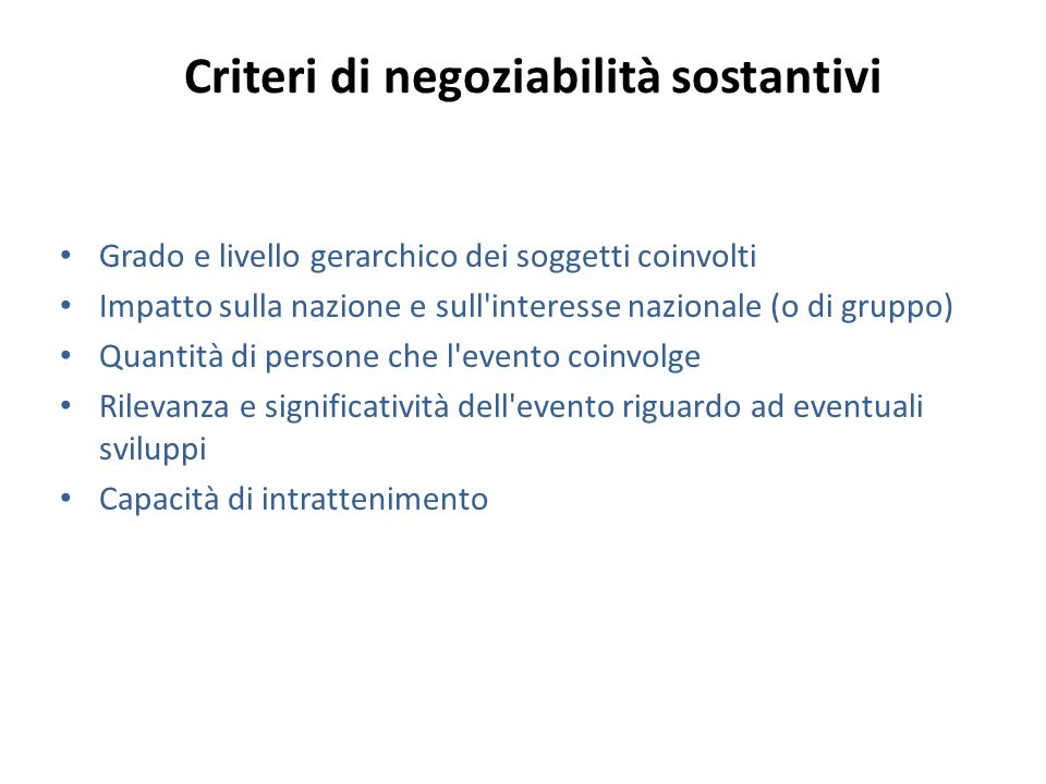 Criteri di negoziabilità sostantivi
