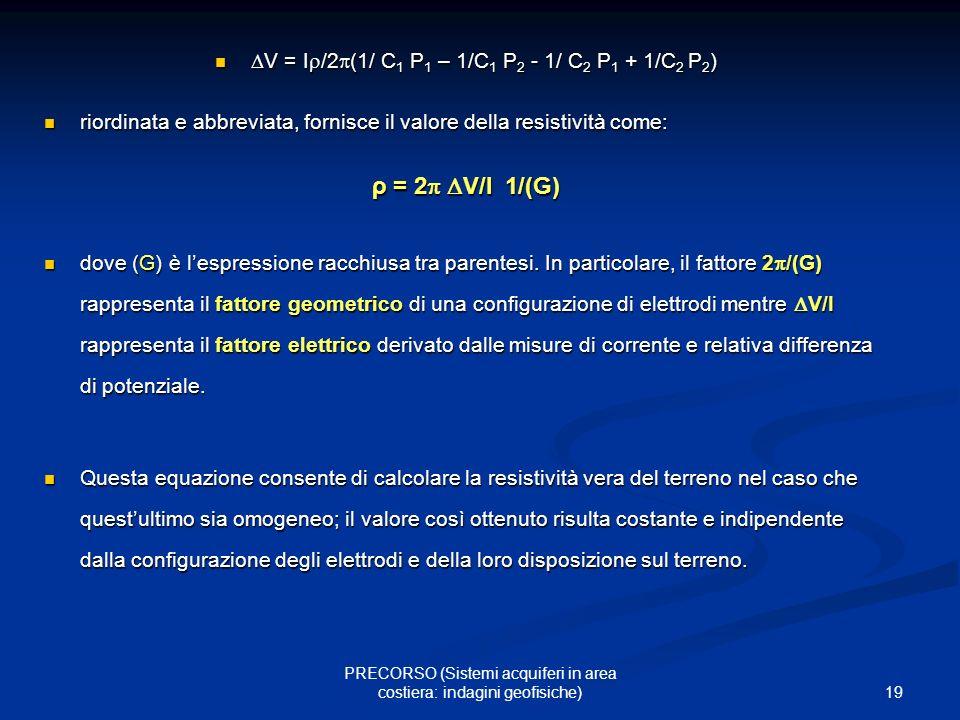 ρ = 2 V/I 1/(G) V = I/2(1/ C1 P1 – 1/C1 P2 - 1/ C2 P1 + 1/C2 P2)