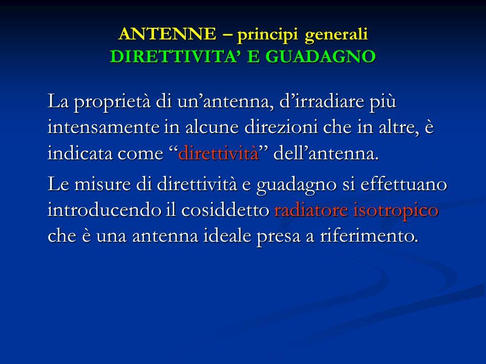 ANTENNE – principi generali DIRETTIVITA' E GUADAGNO