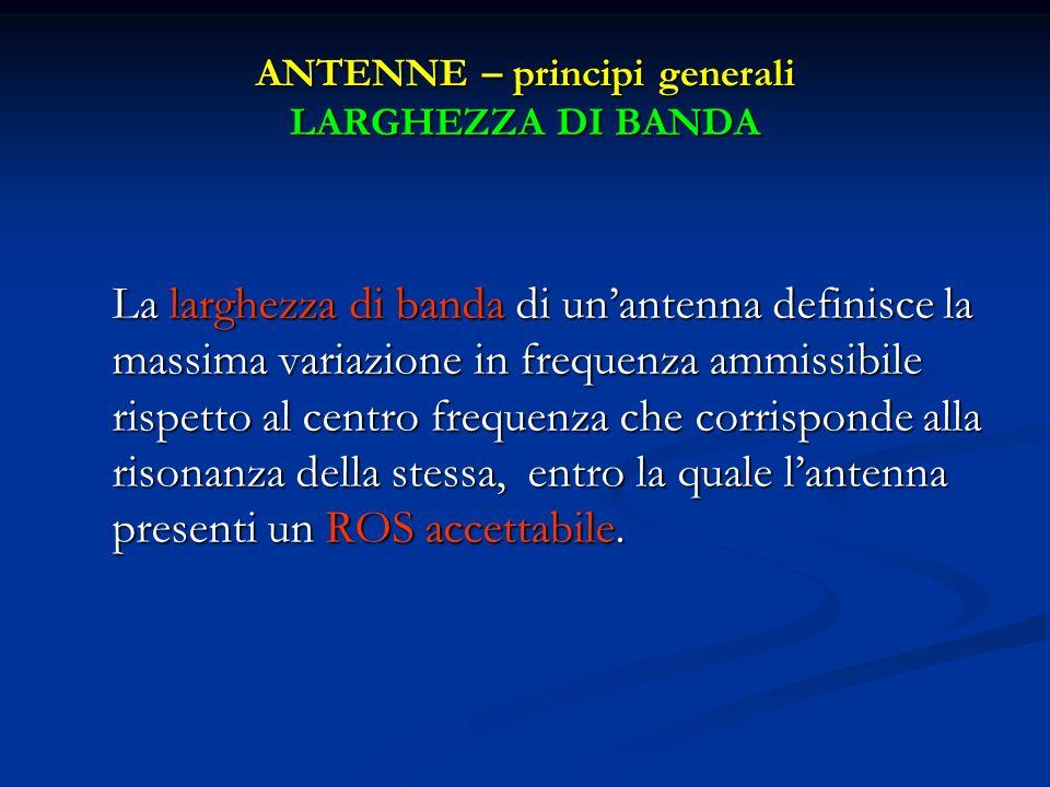 ANTENNE – principi generali LARGHEZZA DI BANDA