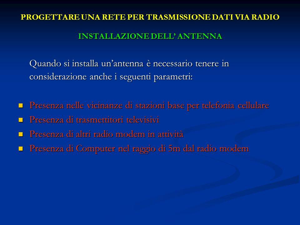 PROGETTARE UNA RETE PER TRASMISSIONE DATI VIA RADIO INSTALLAZIONE DELL' ANTENNA