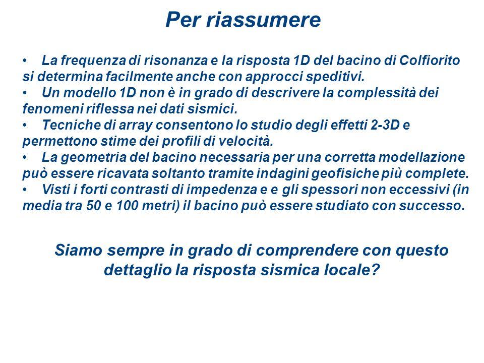 Per riassumereLa frequenza di risonanza e la risposta 1D del bacino di Colfiorito si determina facilmente anche con approcci speditivi.