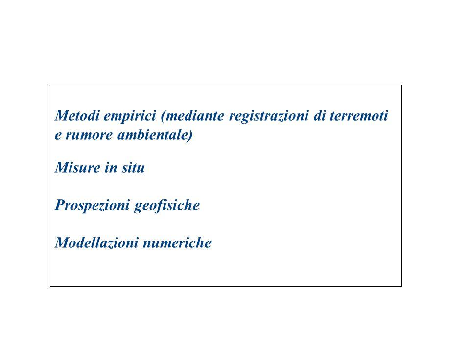 Metodi empirici (mediante registrazioni di terremoti