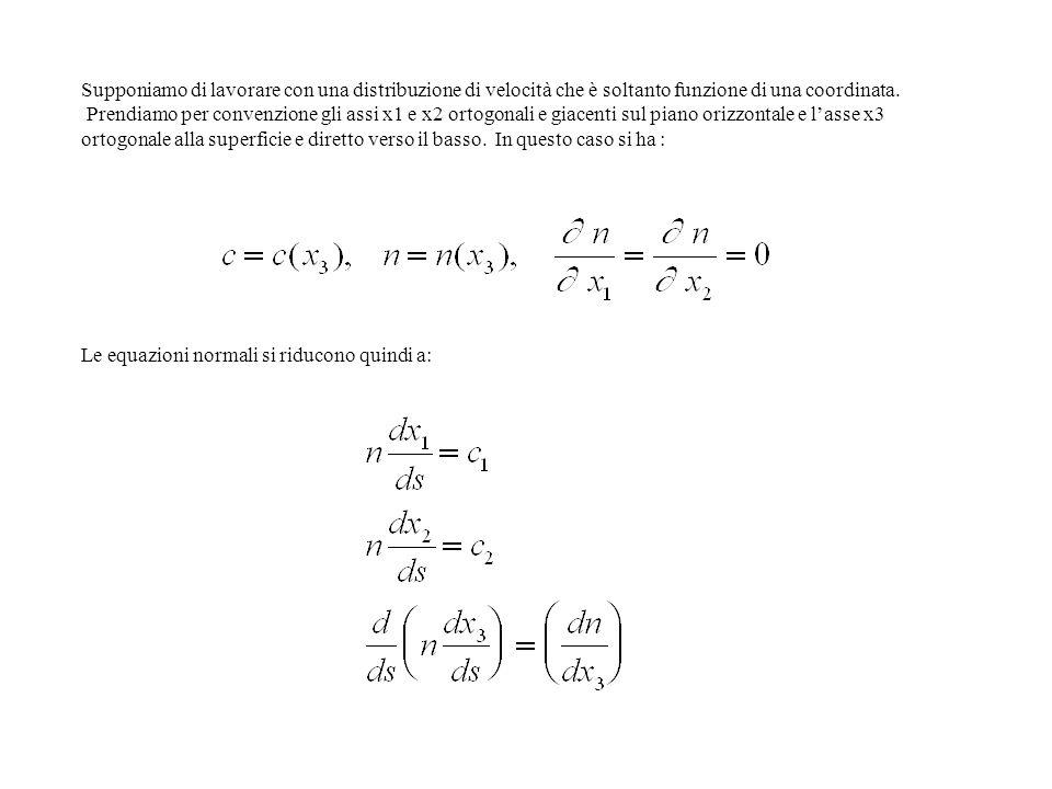 Supponiamo di lavorare con una distribuzione di velocità che è soltanto funzione di una coordinata.