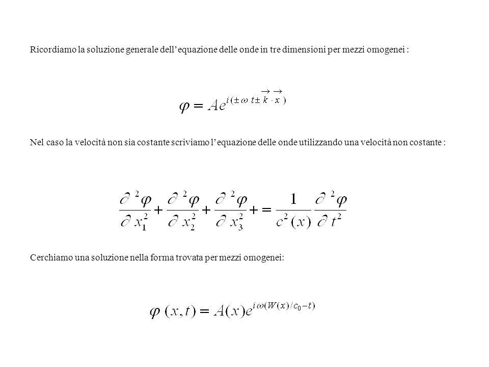 Ricordiamo la soluzione generale dell'equazione delle onde in tre dimensioni per mezzi omogenei :